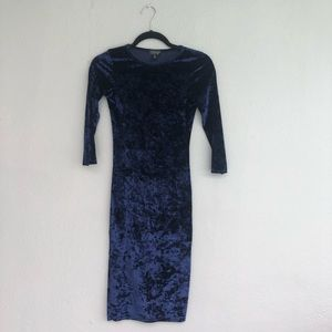 Navy Topshop size 2 velvet blue dress